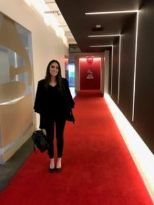 Kane Office Manager Ashleigh DeRosa walks the red carpet at Grammy Headquarters in Santa Monica